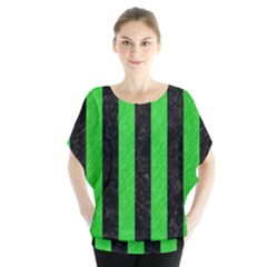 Stripes1 Black Marble & Green Colored Pencil Blouse