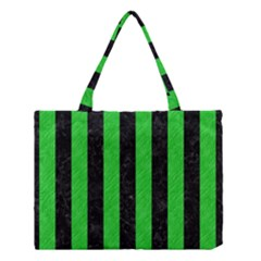 Stripes1 Black Marble & Green Colored Pencil Medium Tote Bag