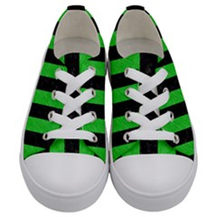 Stripes1 Black Marble & Green Colored Pencil Kids  Low Top Canvas Sneakers