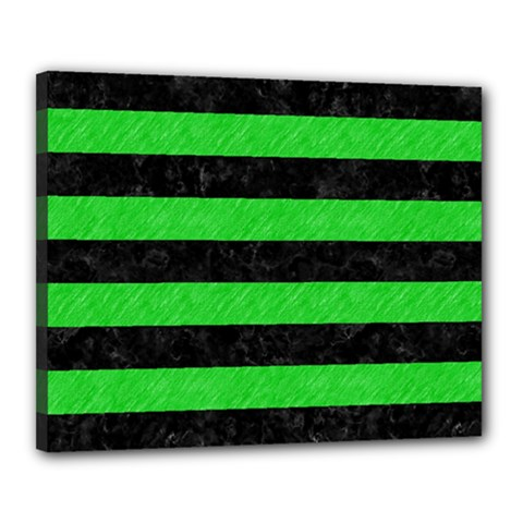 Stripes2 Black Marble & Green Colored Pencil Canvas 20  X 16