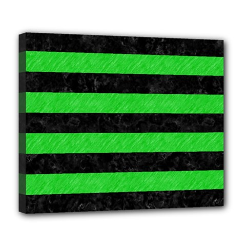 Stripes2 Black Marble & Green Colored Pencil Deluxe Canvas 24  X 20