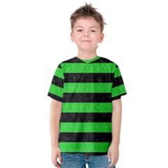Stripes2 Black Marble & Green Colored Pencil Kids  Cotton Tee