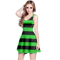 Stripes2 Black Marble & Green Colored Pencil Reversible Sleeveless Dress