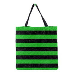 Stripes2 Black Marble & Green Colored Pencil Grocery Tote Bag