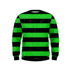 Stripes2 Black Marble & Green Colored Pencil Kids  Sweatshirt