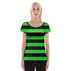 Stripes2 Black Marble & Green Colored Pencil Cap Sleeve Tops