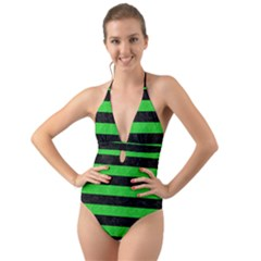 Stripes2 Black Marble & Green Colored Pencil Halter Cut Out One Piece Swimsuit