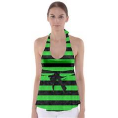Stripes2 Black Marble & Green Colored Pencil Babydoll Tankini Top