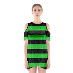 Stripes2 Black Marble & Green Colored Pencil Shoulder Cutout One Piece
