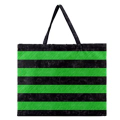 Stripes2 Black Marble & Green Colored Pencil Zipper Large Tote Bag
