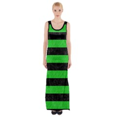 Stripes2 Black Marble & Green Colored Pencil Maxi Thigh Split Dress