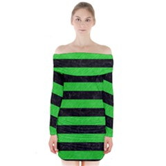 Stripes2 Black Marble & Green Colored Pencil Long Sleeve Off Shoulder Dress
