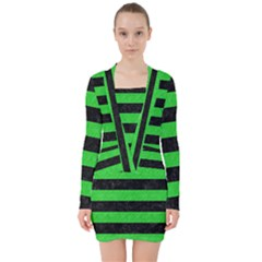 Stripes2 Black Marble & Green Colored Pencil V Neck Bodycon Long Sleeve Dress