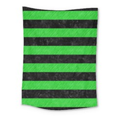 Stripes2 Black Marble & Green Colored Pencil Medium Tapestry