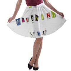I Am Watching You A Line Skater Skirt