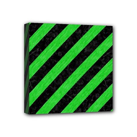Stripes3 Black Marble & Green Colored Pencil Mini Canvas 4  X 4