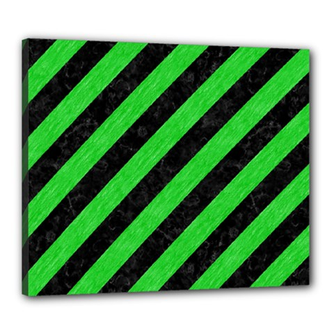 Stripes3 Black Marble & Green Colored Pencil Canvas 24  X 20