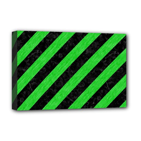 Stripes3 Black Marble & Green Colored Pencil Deluxe Canvas 18  X 12