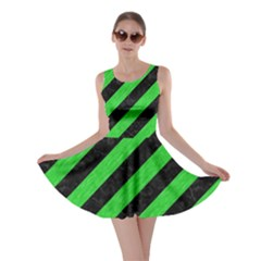 Stripes3 Black Marble & Green Colored Pencil Skater Dress
