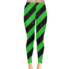 Stripes3 Black Marble & Green Colored Pencil Leggings