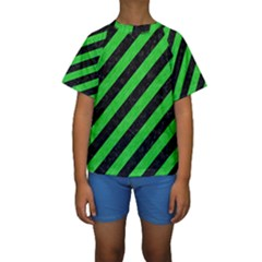 Stripes3 Black Marble & Green Colored Pencil Kids  Short Sleeve Swimwear