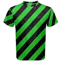 Stripes3 Black Marble & Green Colored Pencil Men s Cotton Tee