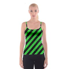 Stripes3 Black Marble & Green Colored Pencil Spaghetti Strap Top
