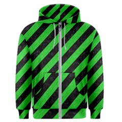 Stripes3 Black Marble & Green Colored Pencil Men s Zipper Hoodie