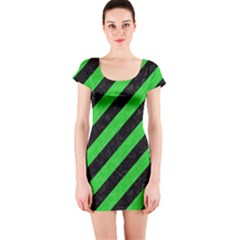 Stripes3 Black Marble & Green Colored Pencil Short Sleeve Bodycon Dress