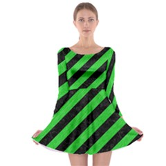 Stripes3 Black Marble & Green Colored Pencil Long Sleeve Skater Dress
