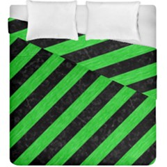 Stripes3 Black Marble & Green Colored Pencil Duvet Cover Double Side (king Size)