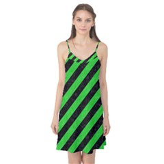 Stripes3 Black Marble & Green Colored Pencil Camis Nightgown