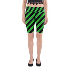 Stripes3 Black Marble & Green Colored Pencil Yoga Cropped Leggings