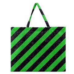 Stripes3 Black Marble & Green Colored Pencil Zipper Large Tote Bag