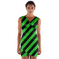 Stripes3 Black Marble & Green Colored Pencil Wrap Front Bodycon Dress