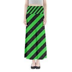 Stripes3 Black Marble & Green Colored Pencil Full Length Maxi Skirt