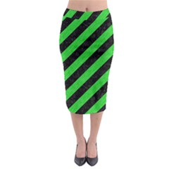 Stripes3 Black Marble & Green Colored Pencil Midi Pencil Skirt