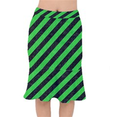 Stripes3 Black Marble & Green Colored Pencil Mermaid Skirt