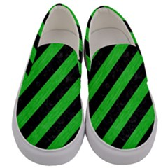 Stripes3 Black Marble & Green Colored Pencil Men s Canvas Slip Ons