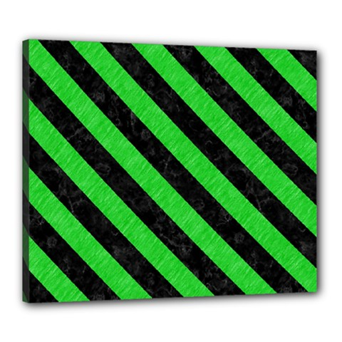 Stripes3 Black Marble & Green Colored Pencil (r) Canvas 24  X 20