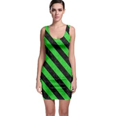 Stripes3 Black Marble & Green Colored Pencil (r) Bodycon Dress