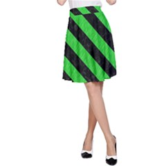 Stripes3 Black Marble & Green Colored Pencil (r) A Line Skirt