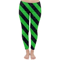 Stripes3 Black Marble & Green Colored Pencil (r) Classic Winter Leggings