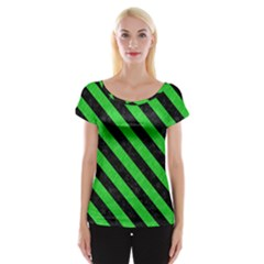 Stripes3 Black Marble & Green Colored Pencil (r) Cap Sleeve Tops