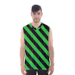 Stripes3 Black Marble & Green Colored Pencil (r) Men s Basketball Tank Top