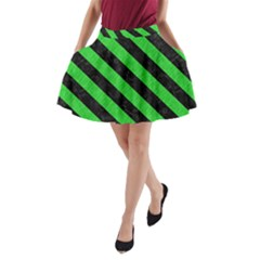 Stripes3 Black Marble & Green Colored Pencil (r) A Line Pocket Skirt