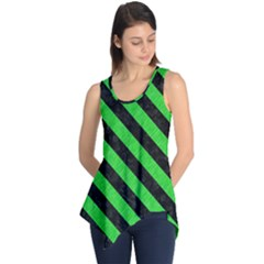 Stripes3 Black Marble & Green Colored Pencil (r) Sleeveless Tunic
