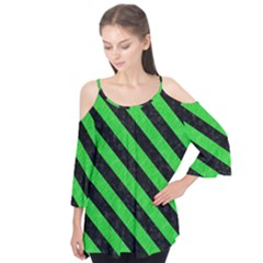Stripes3 Black Marble & Green Colored Pencil (r) Flutter Tees