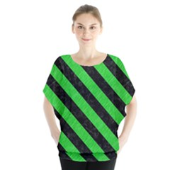 Stripes3 Black Marble & Green Colored Pencil (r) Blouse