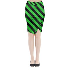 Stripes3 Black Marble & Green Colored Pencil (r) Midi Wrap Pencil Skirt